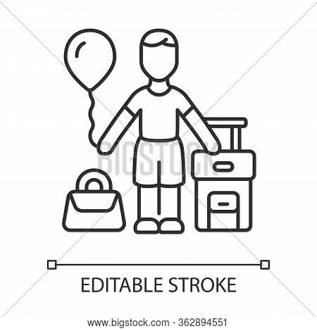 Immigrant Child Linear Icon. Kid Travel Abroad. Traveler With Air Balloon, Carry On Handbag And Suit