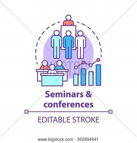 Seminars Conferences Concept Icon. Corporate Events Idea Thin Line Illustration. Business Meetings,