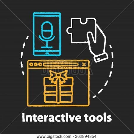 Interactive Tool Chalk Concept Icon. Customer Engaging Media Content, Bonuses. Marketing Tool Idea.