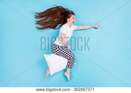 Full Size High Angle Above Flat Lay View Photo Of Pretty Lady Lying Flying Away Hold Pillow Between