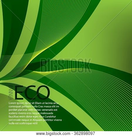 Abstract Green Wavy Lines. Colorful Vector Green Wave Background. For Eco Brochure, Website Design