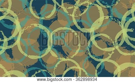 Creative Hand Drawn Circles Geometry Fabric Print. Round Shape Splotch Overlapping Elements Vector S