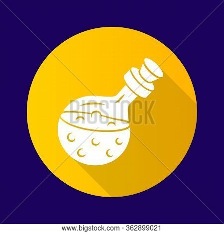 Magic Potion Bottle Yellow Flat Design Long Shadow Glyph Icon. Alchemy And Apothecary Liquid. Magica