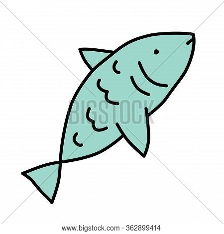 Raw Fish Blue Color Icon. Saltwater Animal With Fins, Gills And Scales, Sealife Isolated Vector Illu