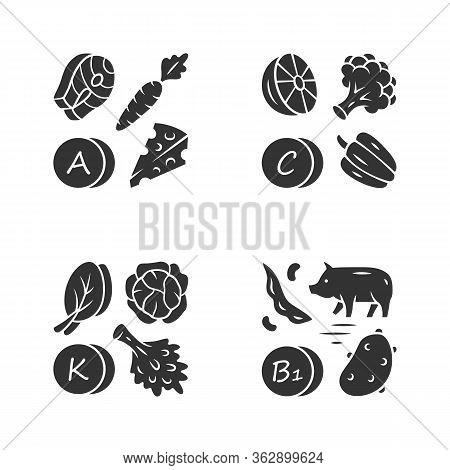 Vitamins Glyph Icons Set. A, C, B1, K Vitamins Natural Food Source. Vegetables, Edible Greens, Dairy