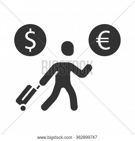 Economic Migrant Glyph Icon. Person Searching New Home. Business Immigrant. Refugee With Luggage. Tr