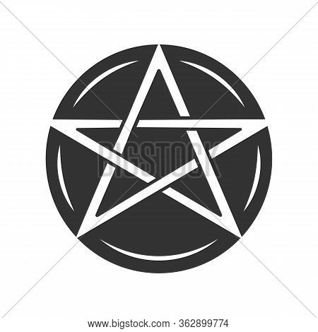 Pentagram Glyph Icon. Occult Ritual Pentacle. Devil Star. Satanic Cult, Wiccan Pagan Silhouette Symb