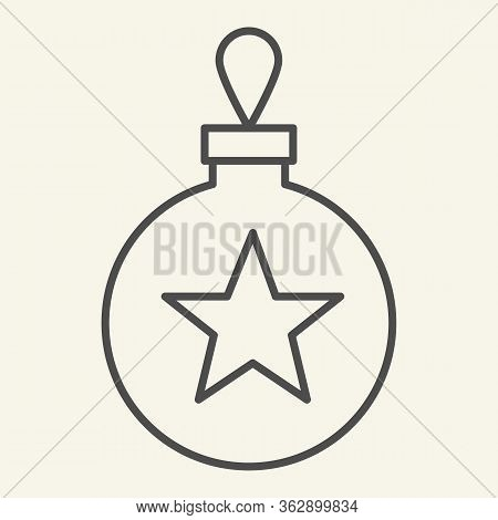 Christmas Tree Toy Thin Line Icon. Christmas Ball Outline Style Pictogram On White Background. Glass