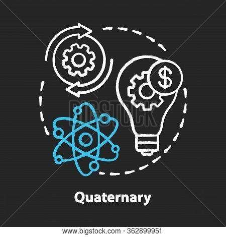 Quaternary Chalk Concept Icon. Knowledge Sector Idea. Information-based Service. Intellectual Activi