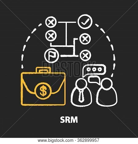 Srm Chalk Concept Icon. Supplier Relationship Management Idea. Planning And Managing. Partnership An