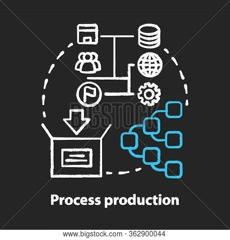 Process Production Chalk Concept Icon. Manufacturing Operations Management Idea. Job Production Step