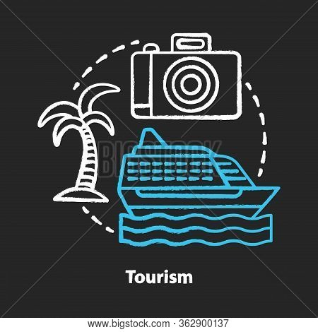 Tourism Chalk Concept Icon. Hospitality Industry Idea. Journey And Travel. Touristic Agency Service.