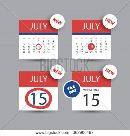 Colorful Tax Day Reminder Concept - Calendar Design Template Set - Usa Tax Deadline, New Due Date Fo