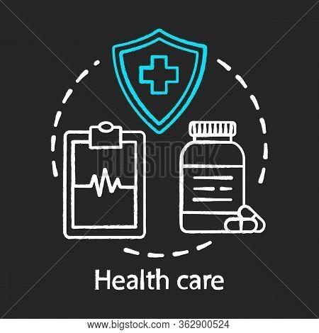 Health Care Chalk Concept Icon. Healthcare, Medicine. Therapeutic Services. Medical Insurance, Exami