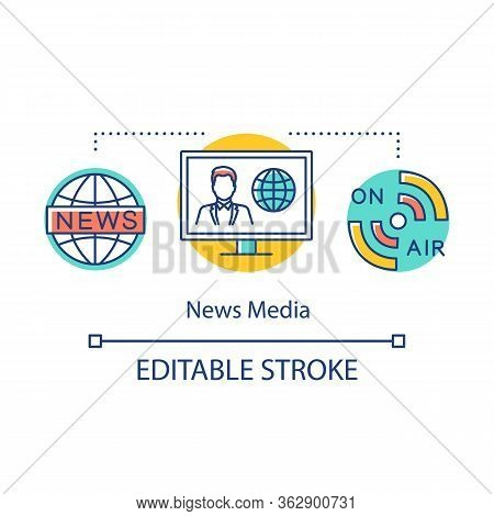 News Media Concept Icon. Information Agency. Live Broadcast. Coverage Of World Events. Newscast. Bro