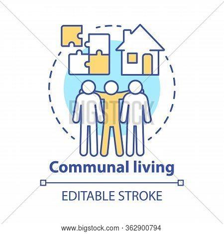 Communal Living Concept Icon. Cohousing Arrangement Idea Thin Line Illustration. Living In Common Pl