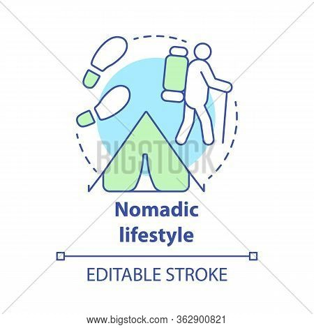 Nomadic Lifestyle Concept Icon. Moving From Place To Place Idea Thin Line Illustration. Human Migrat