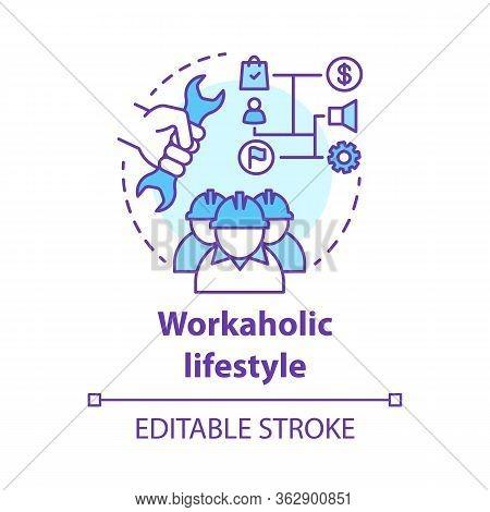 Workaholic Lifestyle Concept Icon. Ergomaniac Idea Thin Line Illustration. Work Addiction, Obsessive