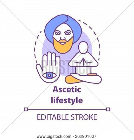 Ascetic Lifestyle Concept Icon. Severe Self-discipline For Religious Reasons Idea Thin Line Illustra