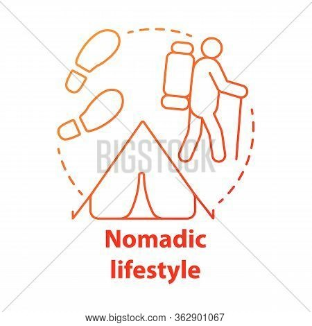 Nomadic Lifestyle Red Concept Icon. Moving From Place To Place Idea Thin Line Illustration. Human Mi
