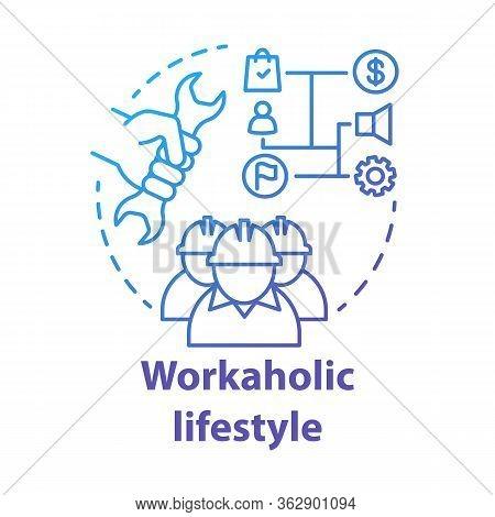 Workaholic Lifestyle Blue Concept Icon. Ergomaniac Idea Thin Line Illustration. Work Addiction, Obse