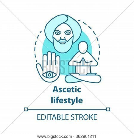 Ascetic Lifestyle Blue Concept Icon. Severe Self-discipline For Religious Reasons Idea Thin Line Ill