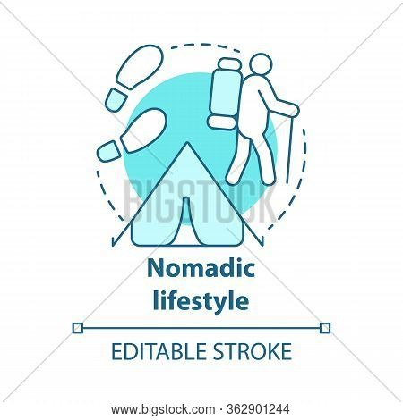 Nomadic Lifestyle Blue Concept Icon. Moving From Place To Place Idea Thin Line Illustration. Human M