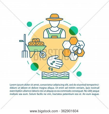 Back To The Land Article Page Vector Template. Agrarian Movement. Brochure, Magazine, Booklet Design
