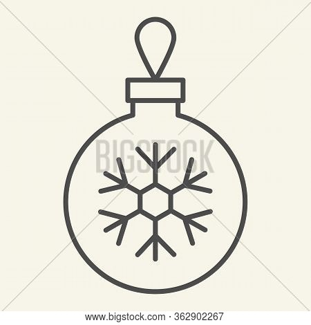 Christmas Ball Thin Line Icon. Glass Tree Toy With Snowflake Outline Style Pictogram On White Backgr
