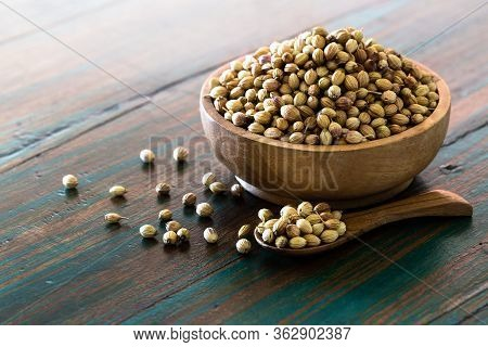 Organic Dried Coriander Seeds On Colored Rustic Background.