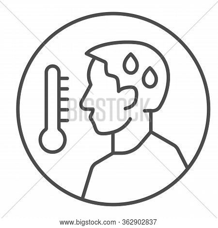 Man Avatar With Fever Thin Line Icon. Person With Cold And High Temperature Outline Style Pictogram