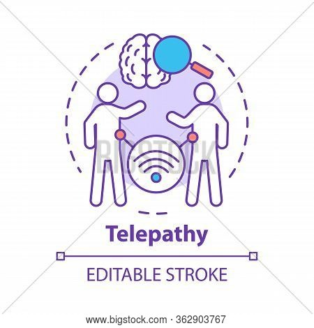 Telepathy Concept Icon. Mind Reading, Thought Transference Idea Thin Line Illustration. Psychic Abil
