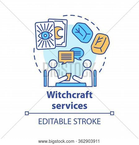 Witchcraft Services Concept Icon. Fortune Telling And Divination Idea Thin Line Illustration. Rune S