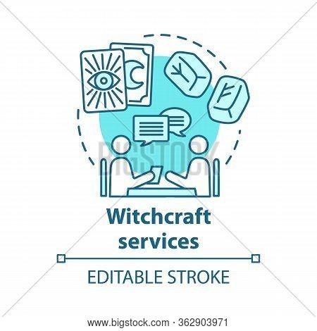 Witchcraft Services Concept Icon. Future Prediction And Divination Idea Thin Line Illustration. Rune