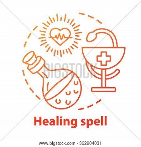Healing Spell Concept Icon. Apothecary And Alchemy Idea Thin Line Illustration. Occult Medicine, Hom