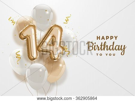 Happy 14th Birthday Gold Foil Balloon Greeting Background. 14 Years Anniversary Logo Template- 14th