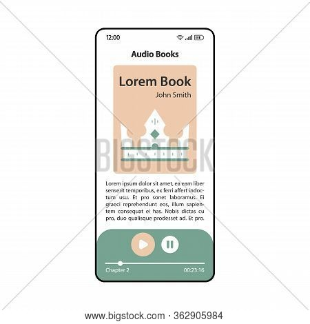 Audio Books App Smartphone Interface Vector Template. Mobile Application Page Modern Design Layout.
