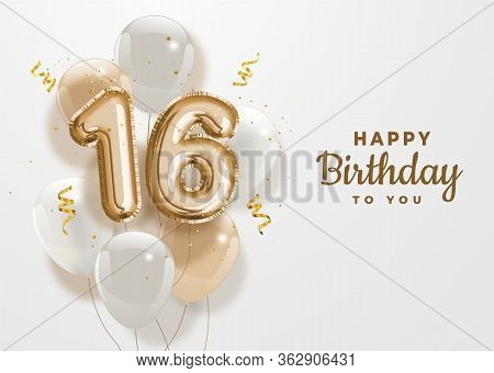Happy 16th Birthday Gold Foil Balloon Greeting Background. 16 Years Anniversary Logo Template- 16th