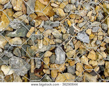 Rocks In Gabion Wire