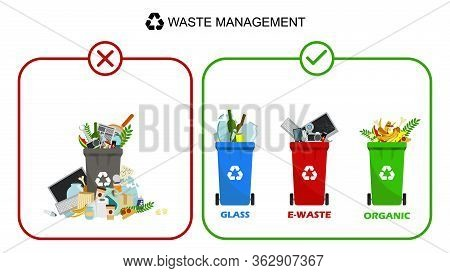 Containers For All Types Of Garbage. Garbage Removal. Recycling Garbage. Trash Can: Paper, Metal, Or