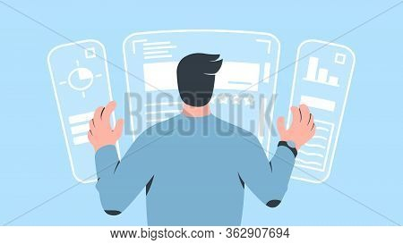 Vector Concept Illustration Of A Character Operating Augmented Reality Computer Interface With His H