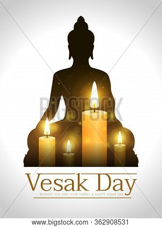 Vesak Day Banner With Candle Light For Remember The Lord Buddha In Buddha Sign Frame Vector Design