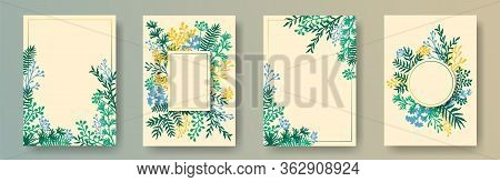 Watercolor Herb Twigs, Tree Branches, Leaves Floral Invitation Cards Set. Bouquet Wreath Modern Card