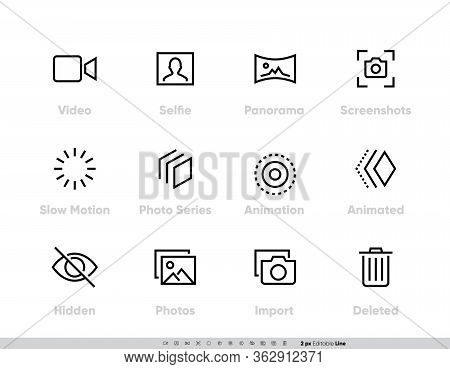 Media Files Vector Icon Set. Camera And Photography Set With Selfie, Panorama, Screenshots, Slow Mot