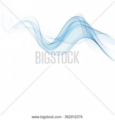 Horizontal Abstract Smoky Blue Wave Vector Eps10