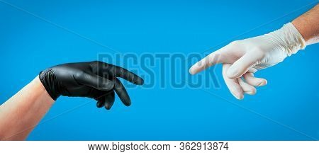 Male Hands With Gloves, Concept From Coronavirus - Covid-19. Gloves As Personal Protective Equipment