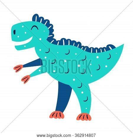 Little Cute Blue T Rex. Prehistoric Animals. Jurassic World. Paleontology. Reptile. Archeology. Flat