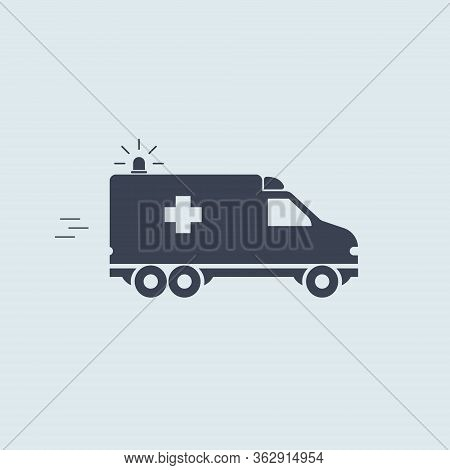 Ambulance Car. Vector Blue Symbol Help Aid Medicaid