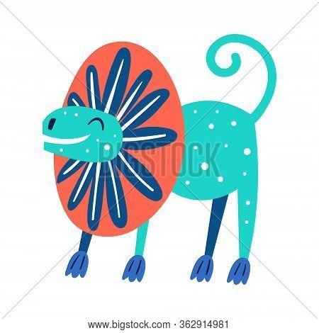 Little Cute Blue Dilophosaurus. Prehistoric Animals. Jurassic World. Paleontology. Reptile. Archeolo