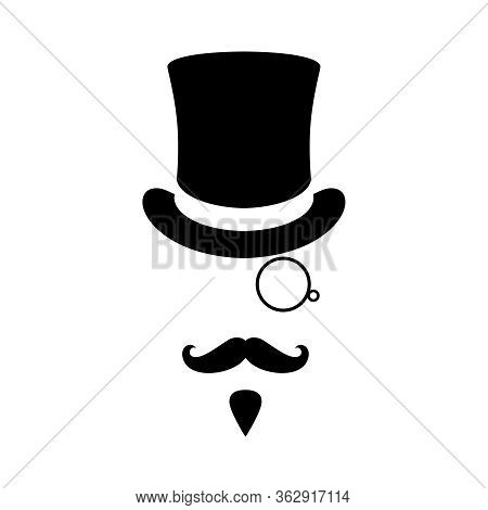 Mister Graphic Icon. Man With Moustaches, Beard, Monocle And Top Hat. Graphic Sign Isolated On White